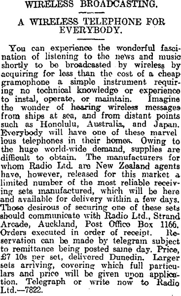 Early Radio Ltd advertising for their crystal sets