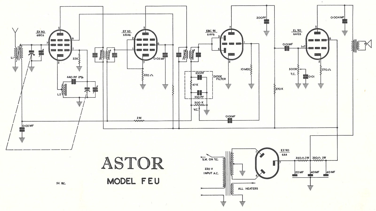 1959 Astor FEU / Columbus and Astor 525 Schematic