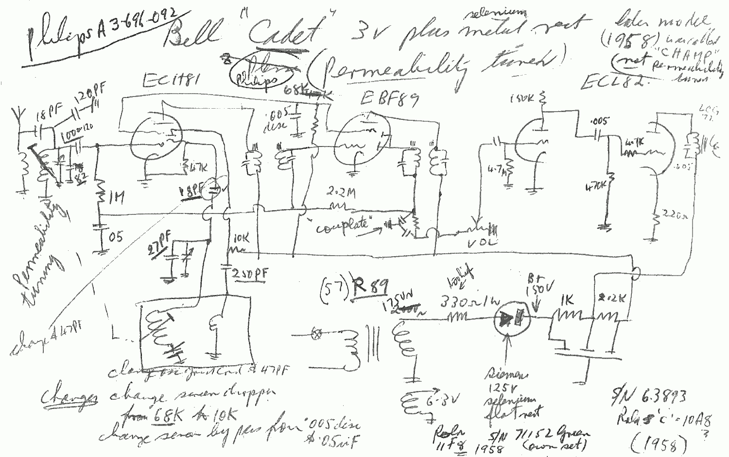 1958 Bell Colt Cadet Schematic Notes