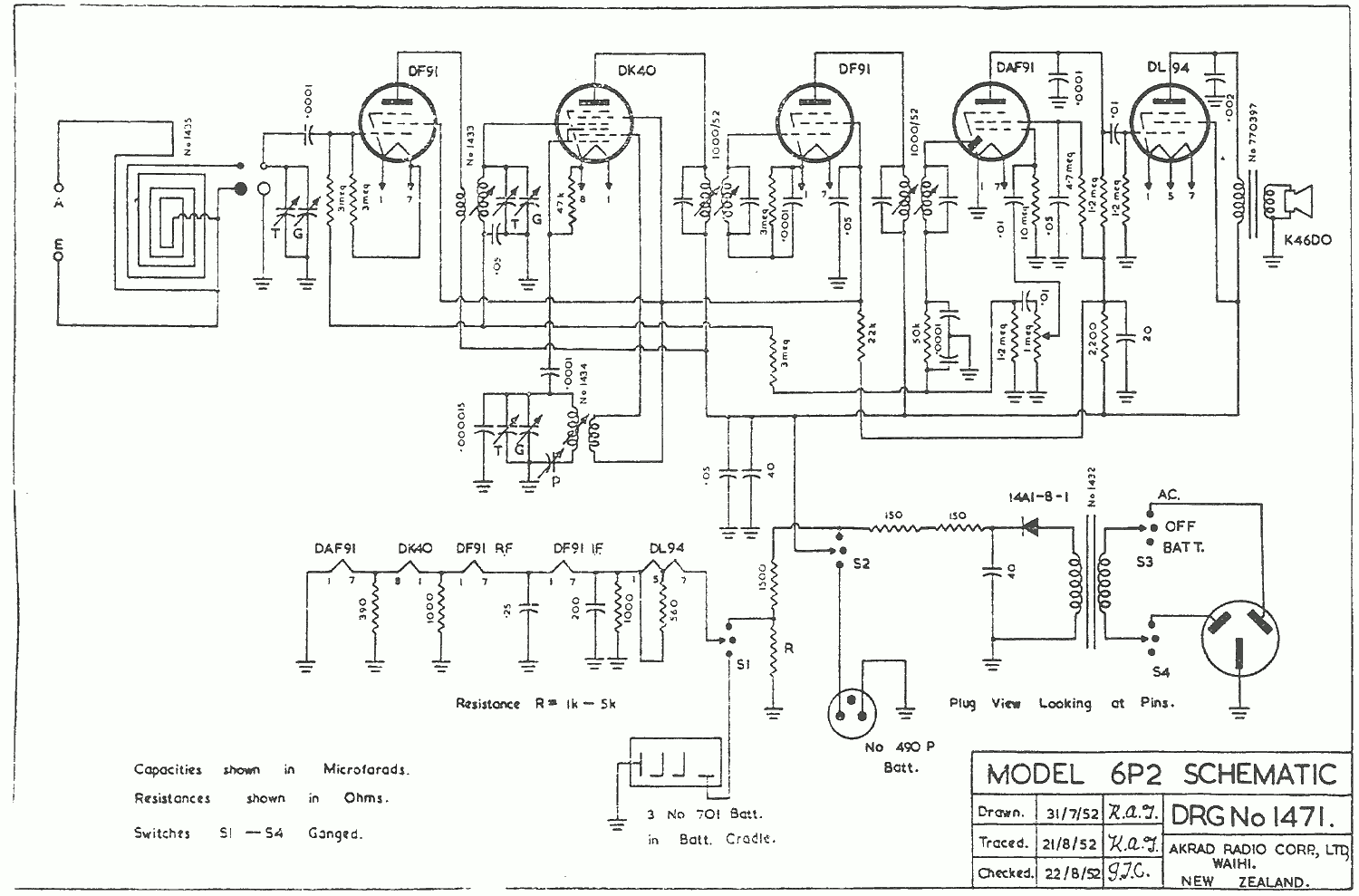 1952 Clipper - Regent - Pacific 'Countess' 6P2 Schematic
