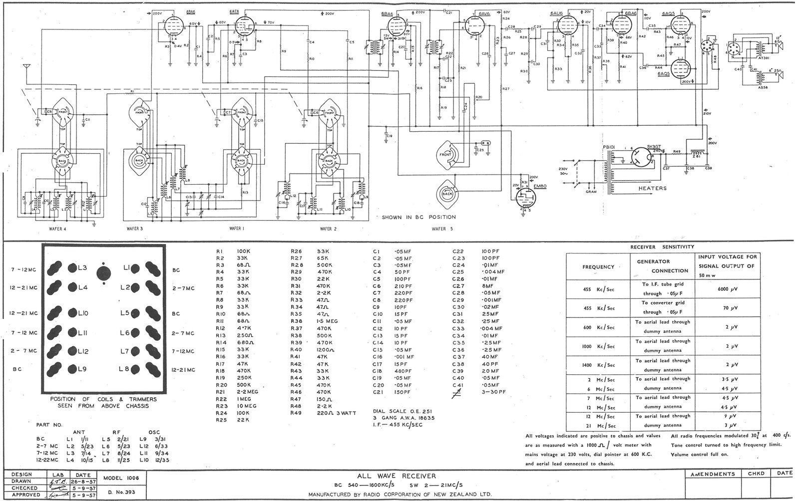 1957 Columbus model 1006 Schematic