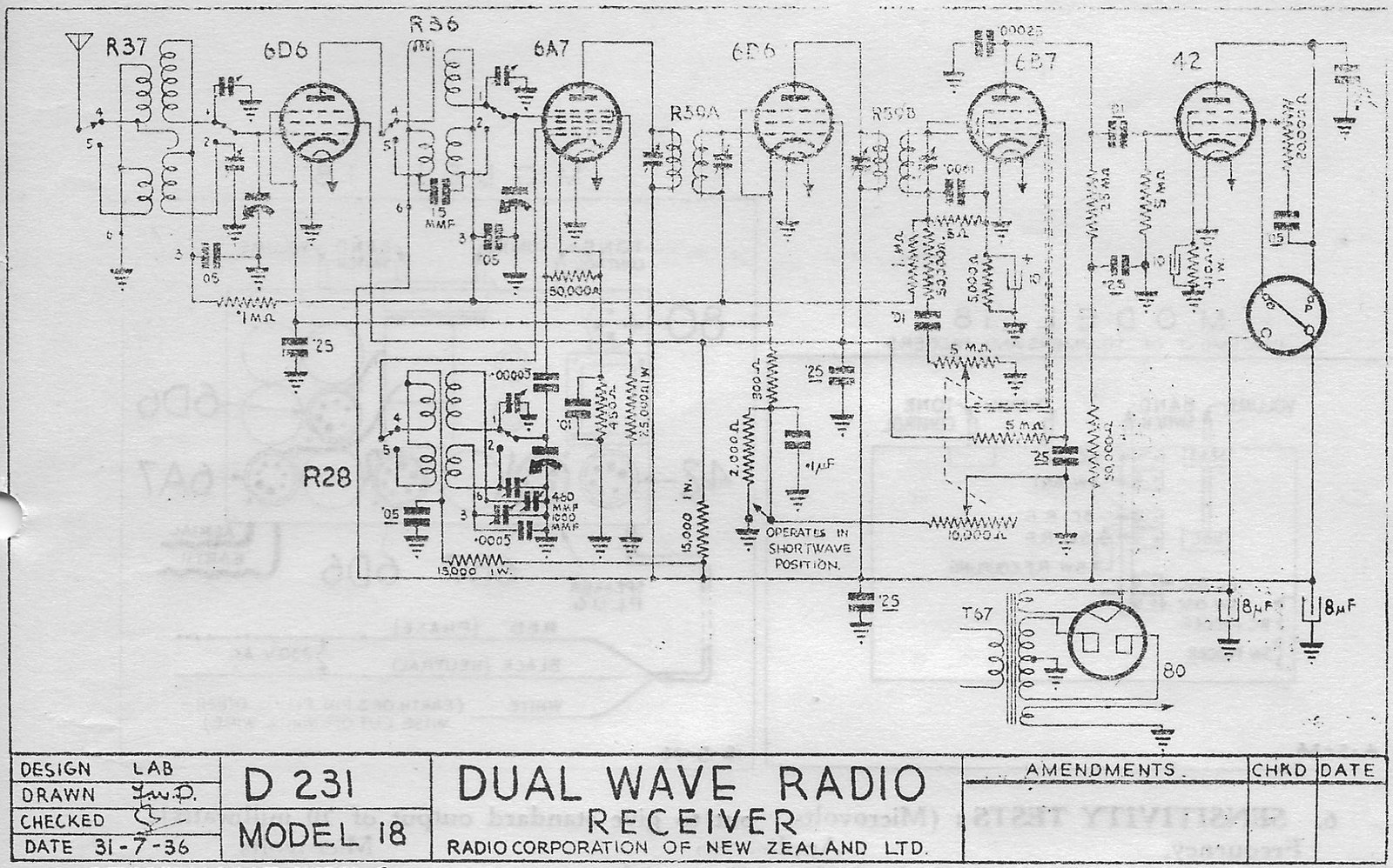 1937 Columbus model 18 Schematic