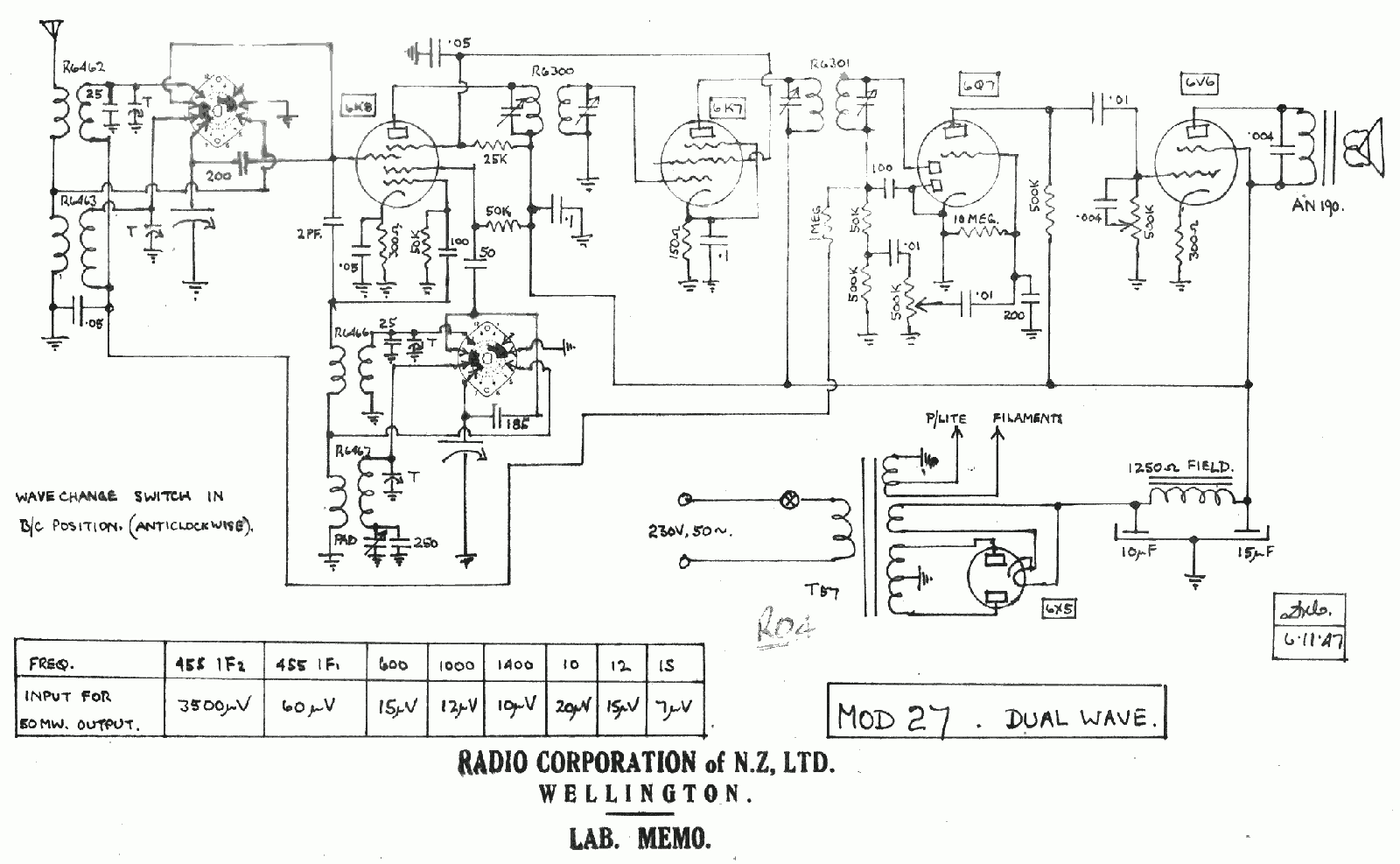 1949 Columbus model 27 lab schematic