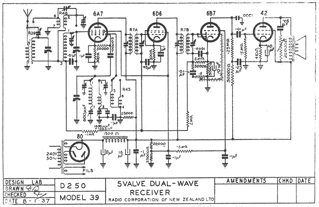 Radio Corp NZ model 39 Schematic
