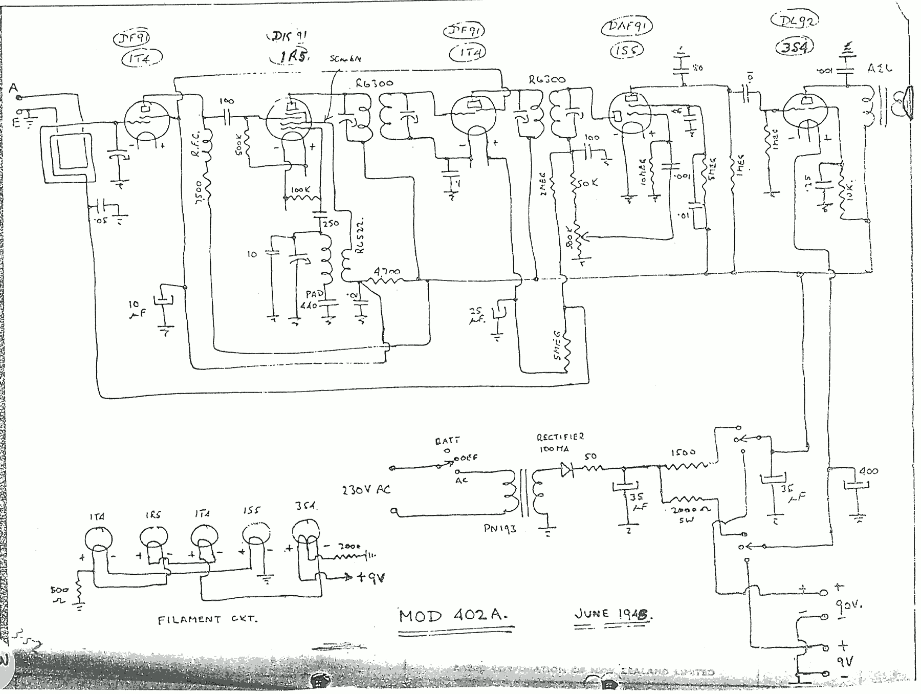 1947 Columbus model 402A Schematic