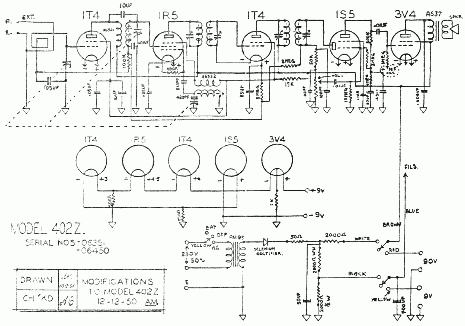 1948 Columbus model 402Z Schematic
