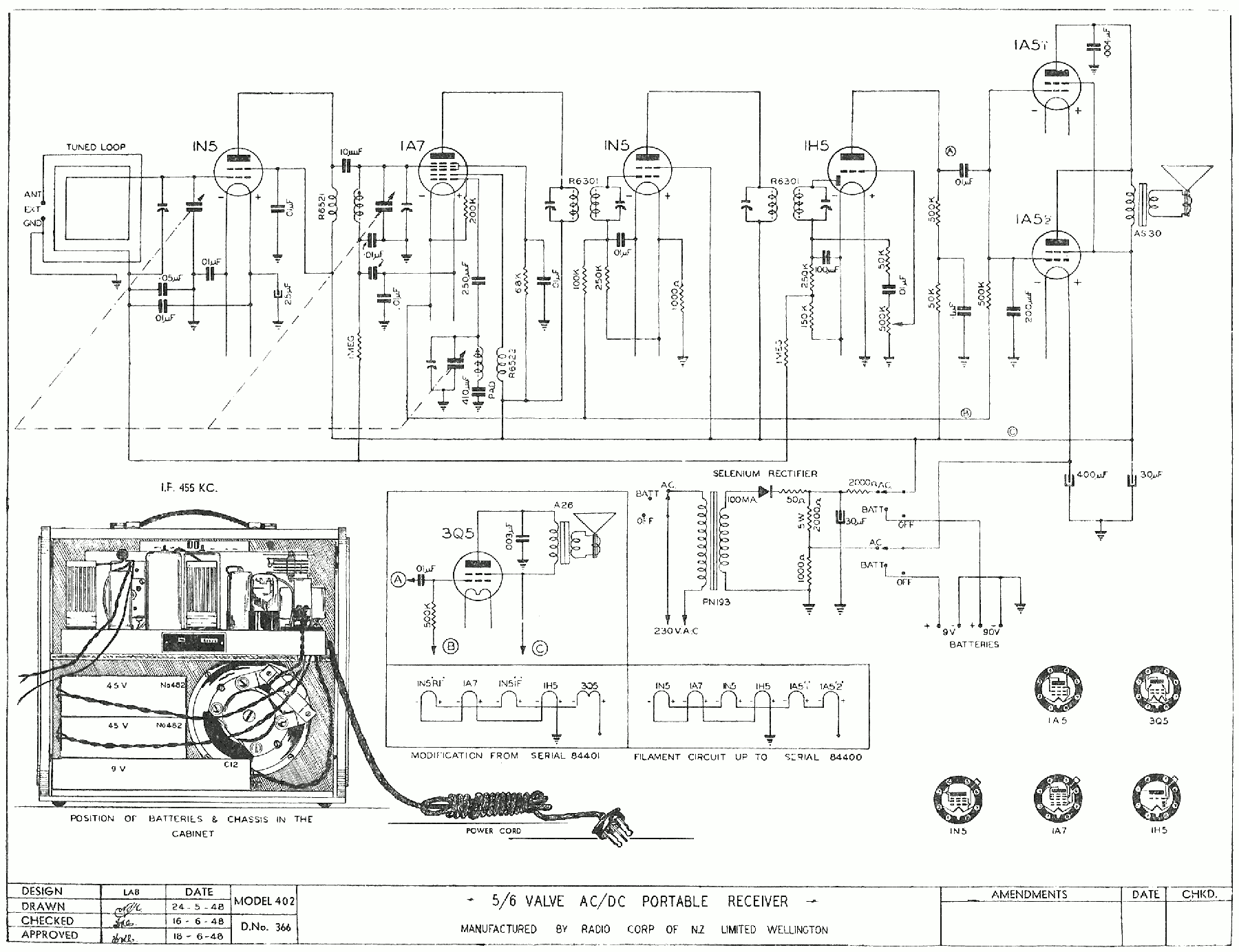 1948 Columbus model 402 Schematic
