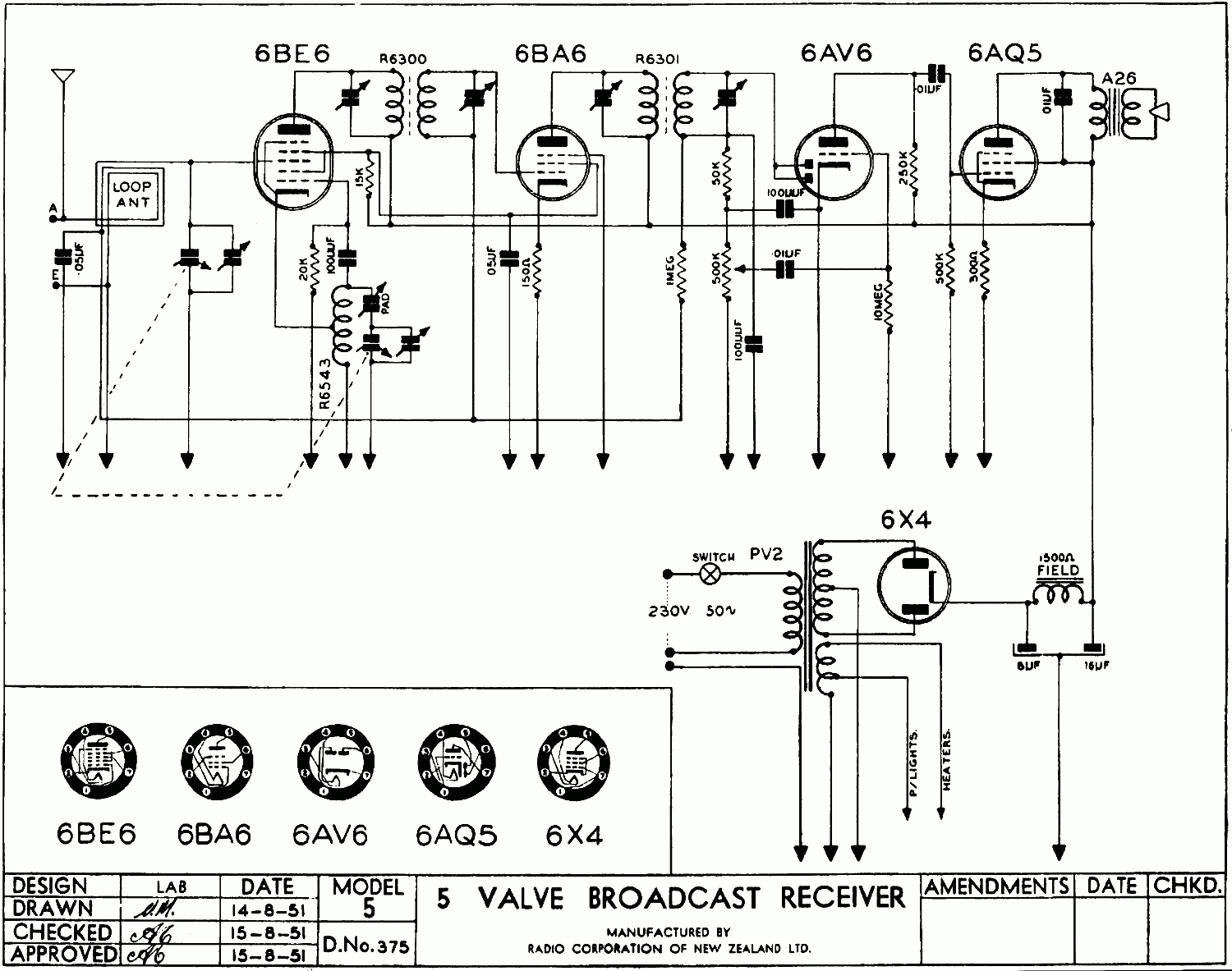 1950 Columbus model 5 later schematic