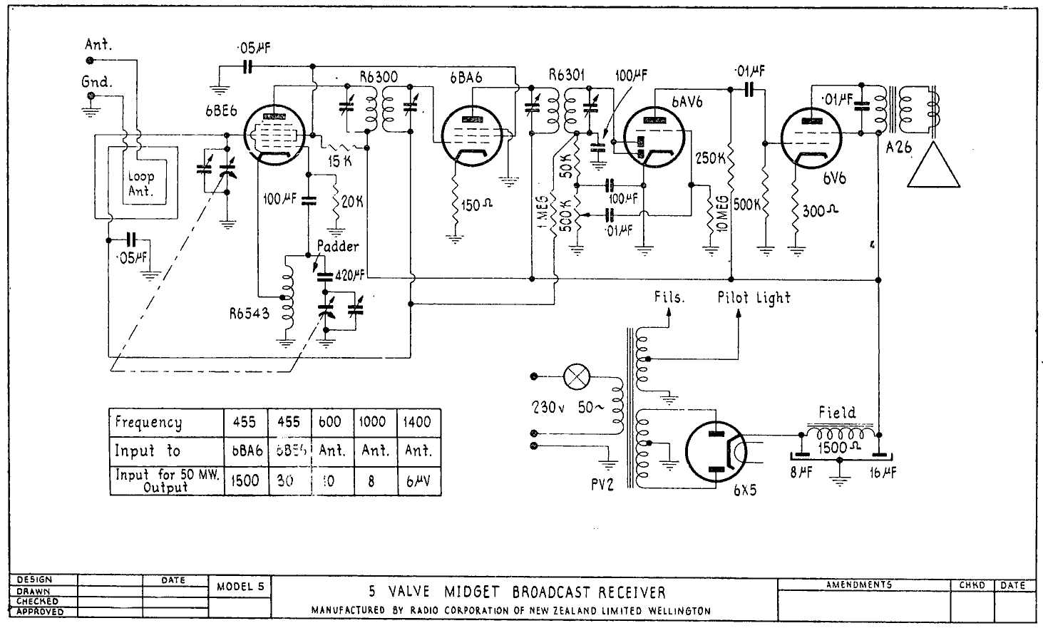 1950 Columbus model 5 Schematic