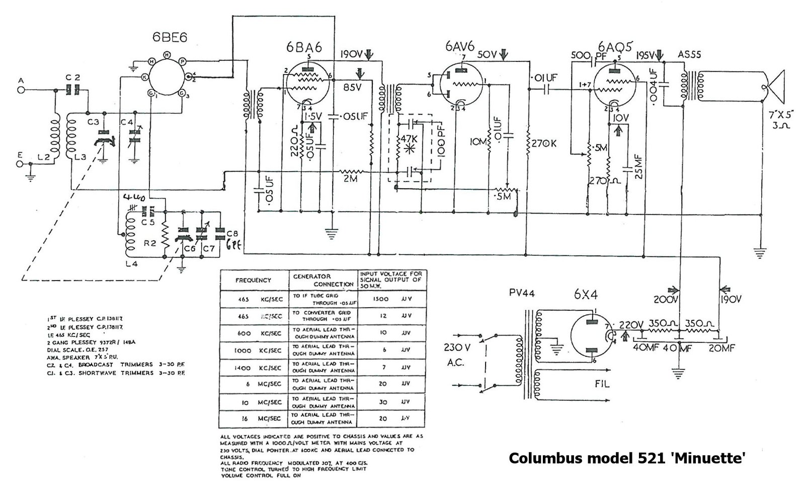 1956 Columbus model 521 schematic