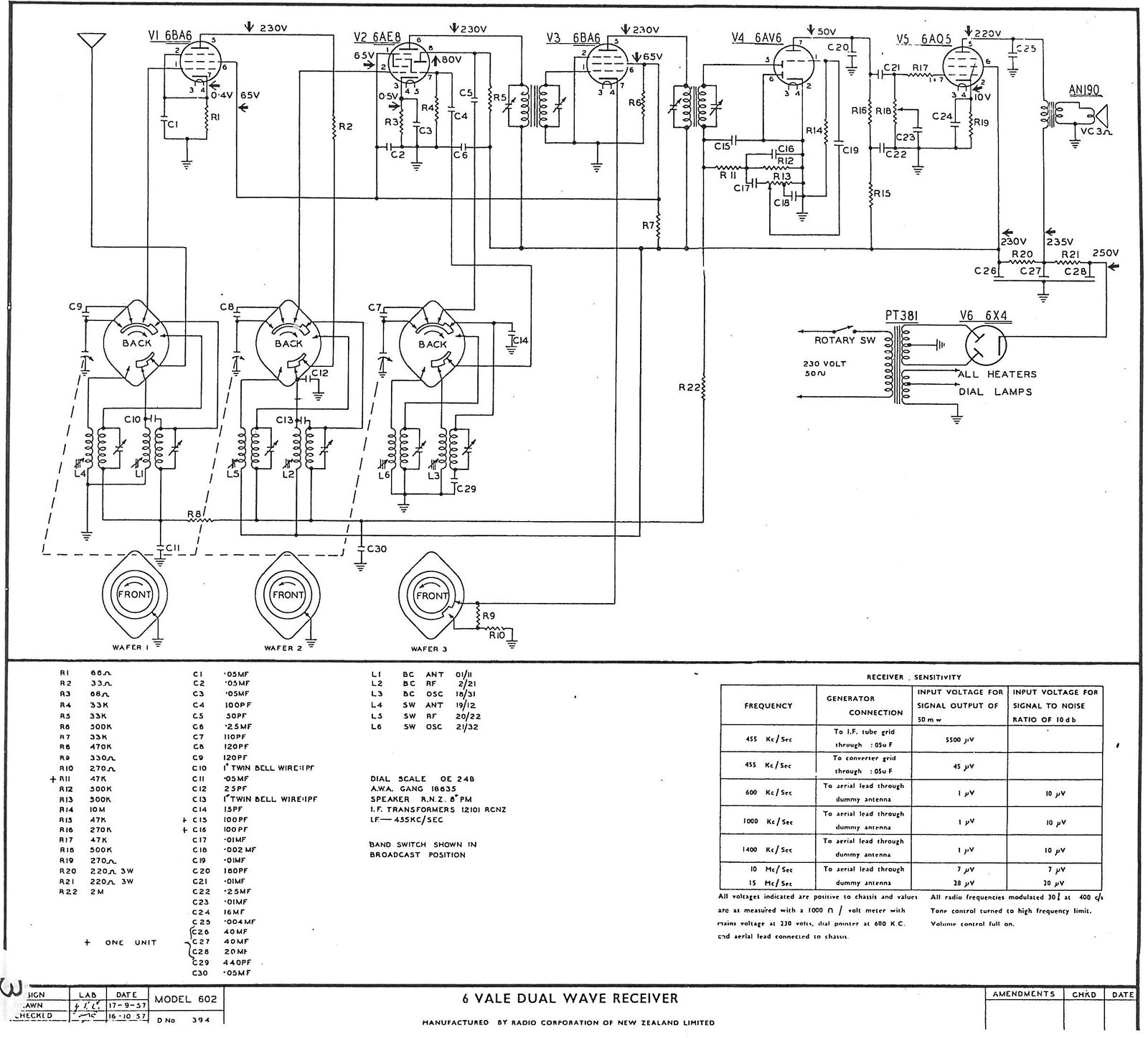 1957 Columbus model 602 Schematic