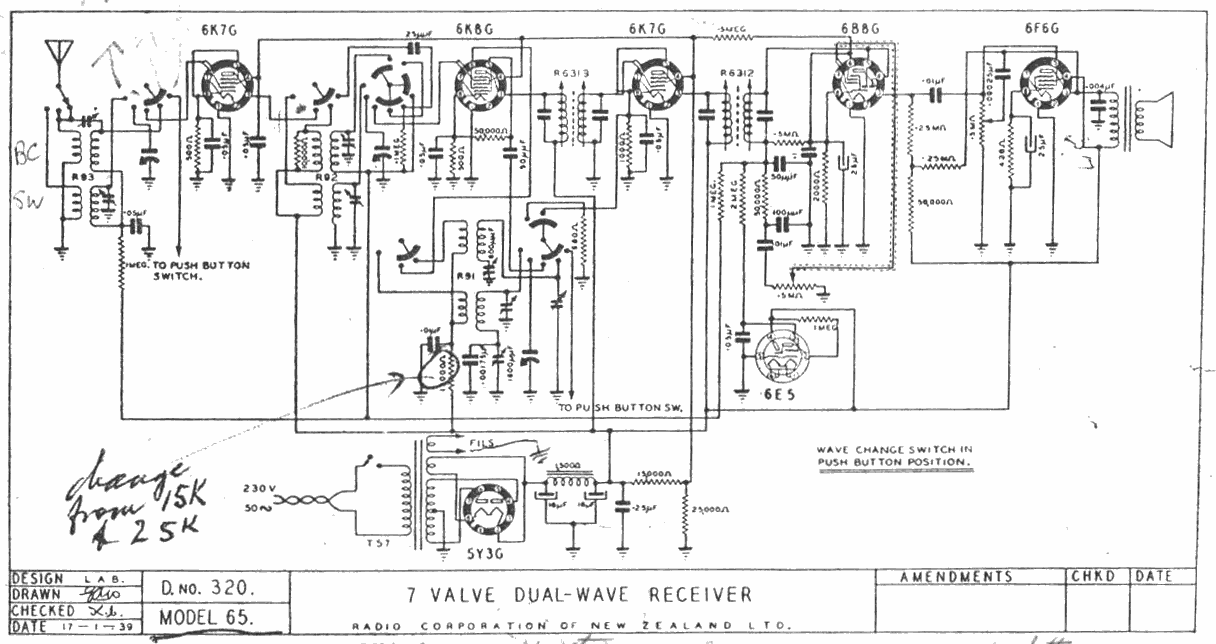 1940 Columbus model 65 Schematic