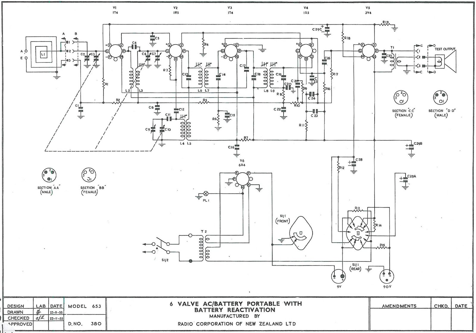 1955 Columbus model 653 Schematic