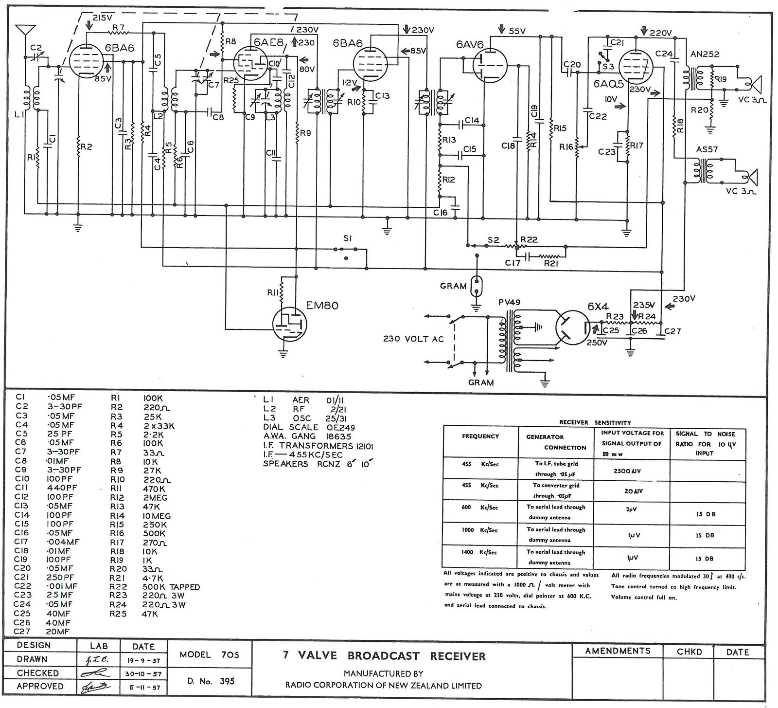 1957 Columbus model 705 Schematic