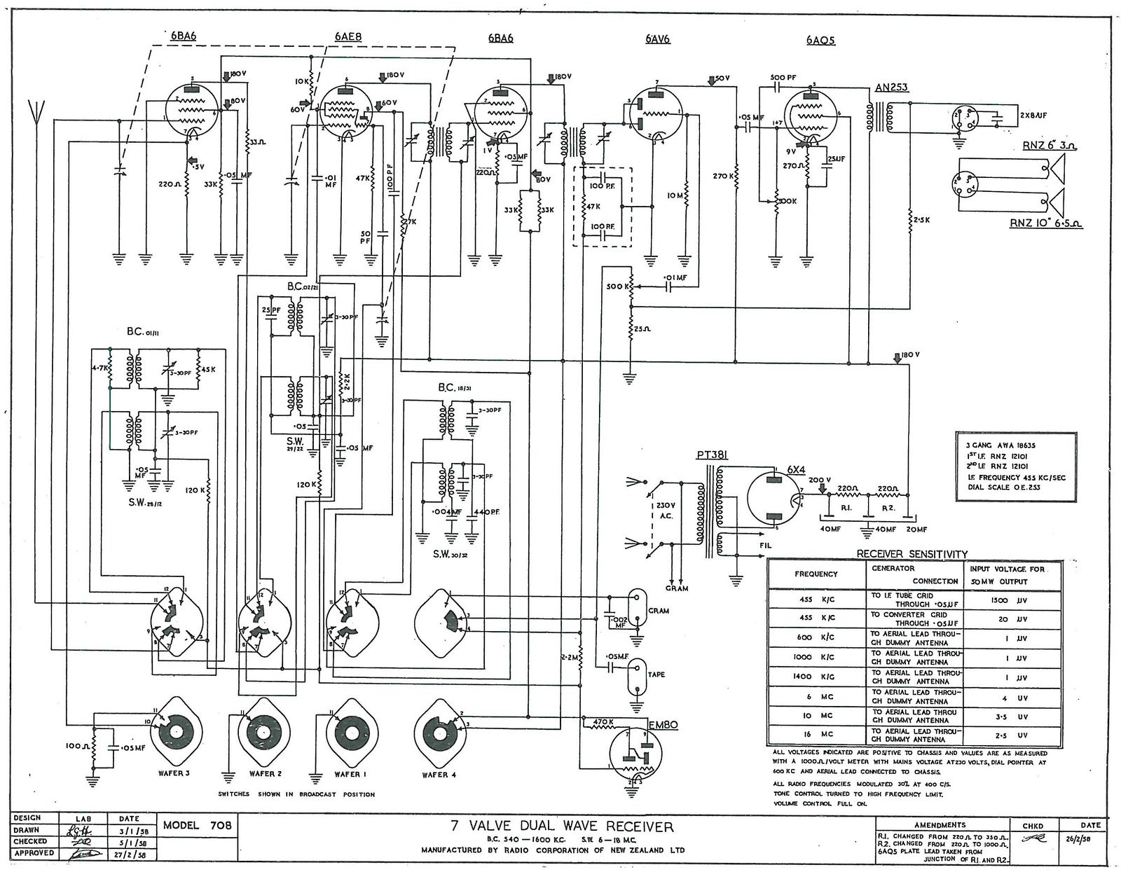 1957 Columbus model 708 Schematic