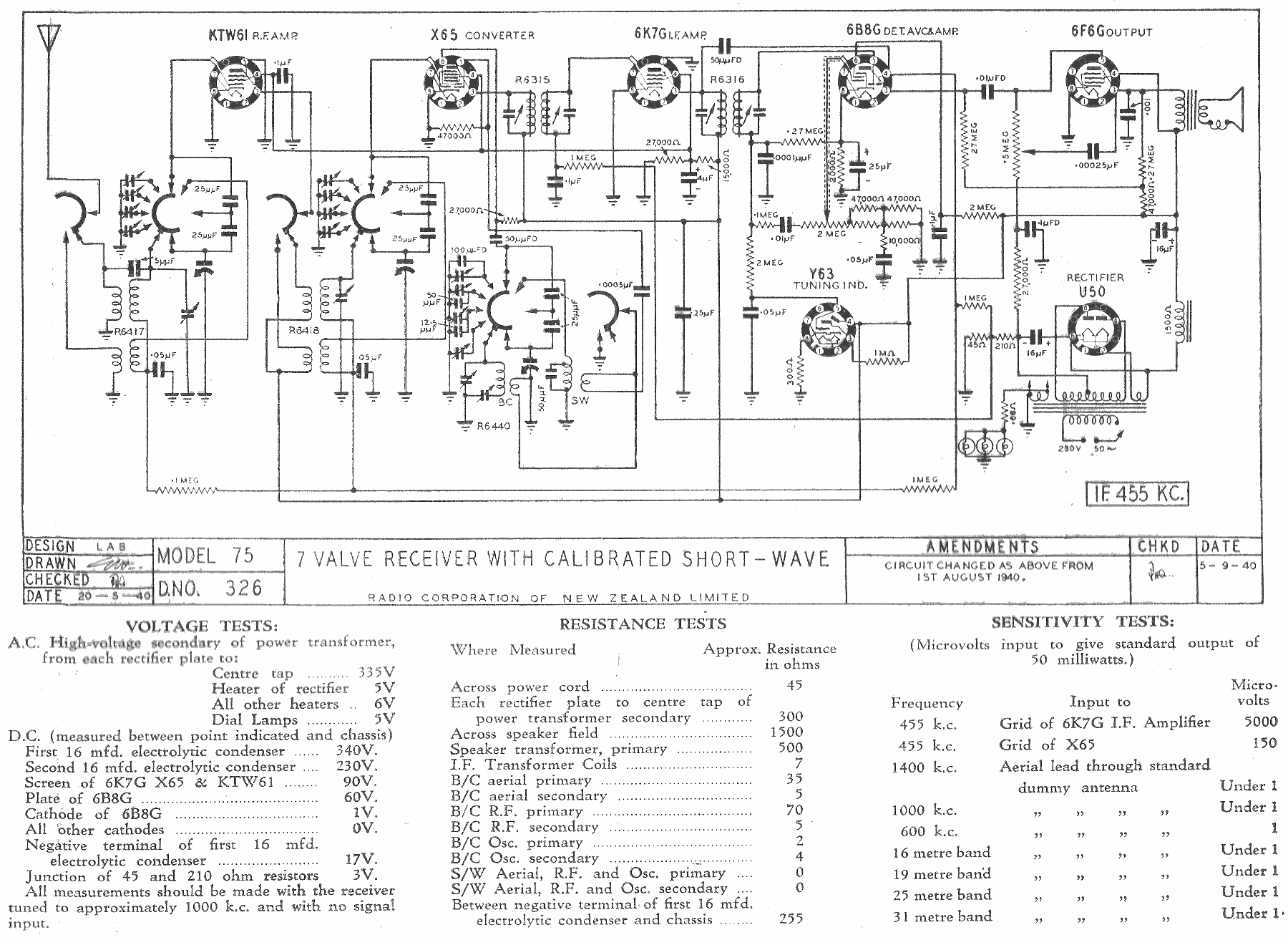 1940 Courtenay and Columbus model 75 Schematic