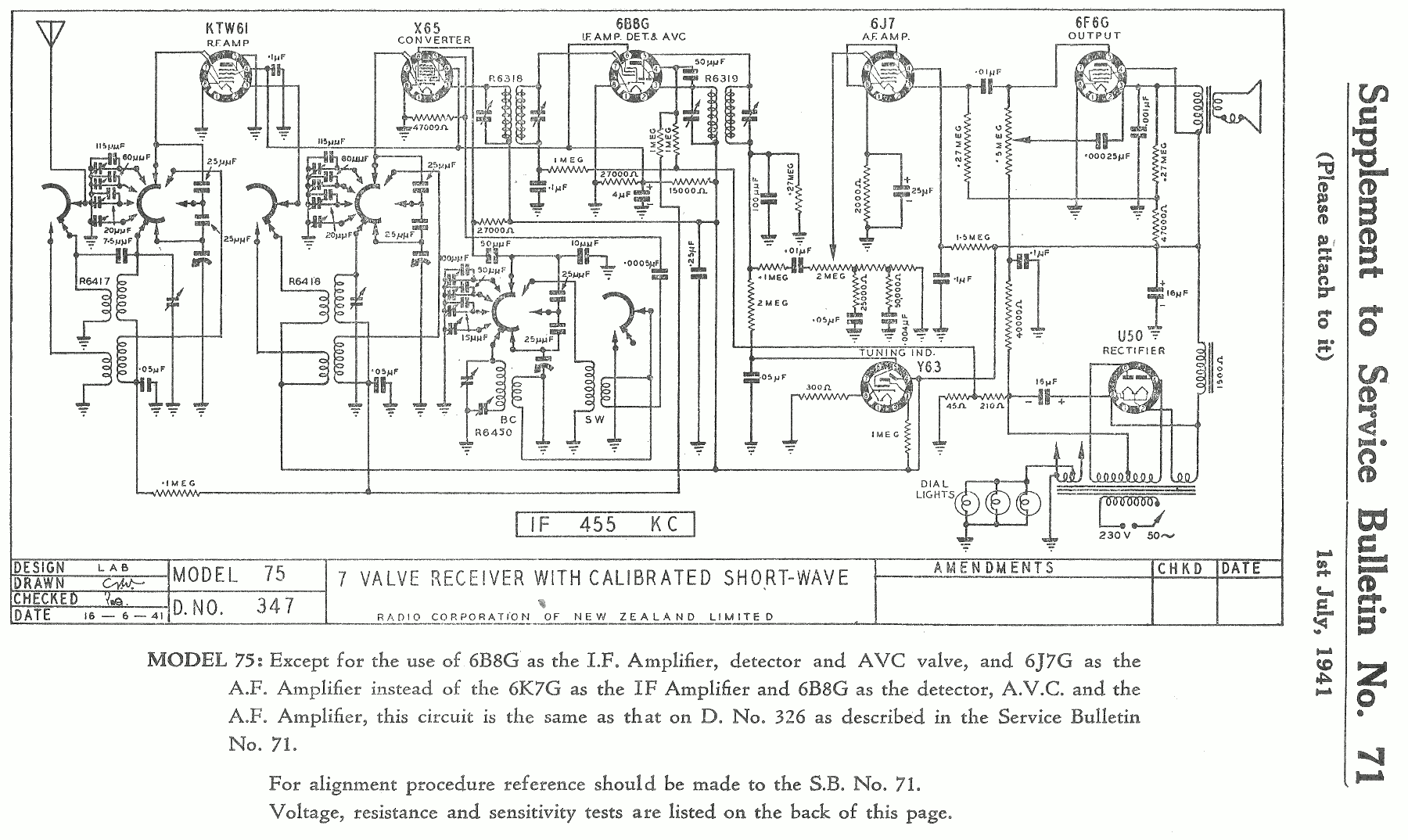 1940 Courtenay and Columbus model 75 Schematic Supplement