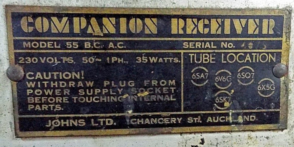 NZ Vintage Radio - 1945 Companion 55BC