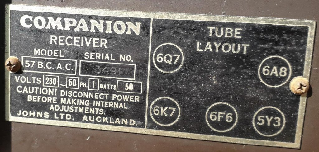 NZ Vintage Radio - Companion 57BC
