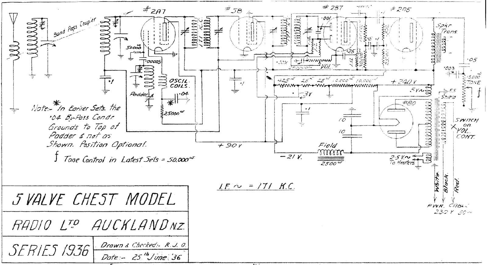 1936 Radio Ltd UC, UU, US Schematic