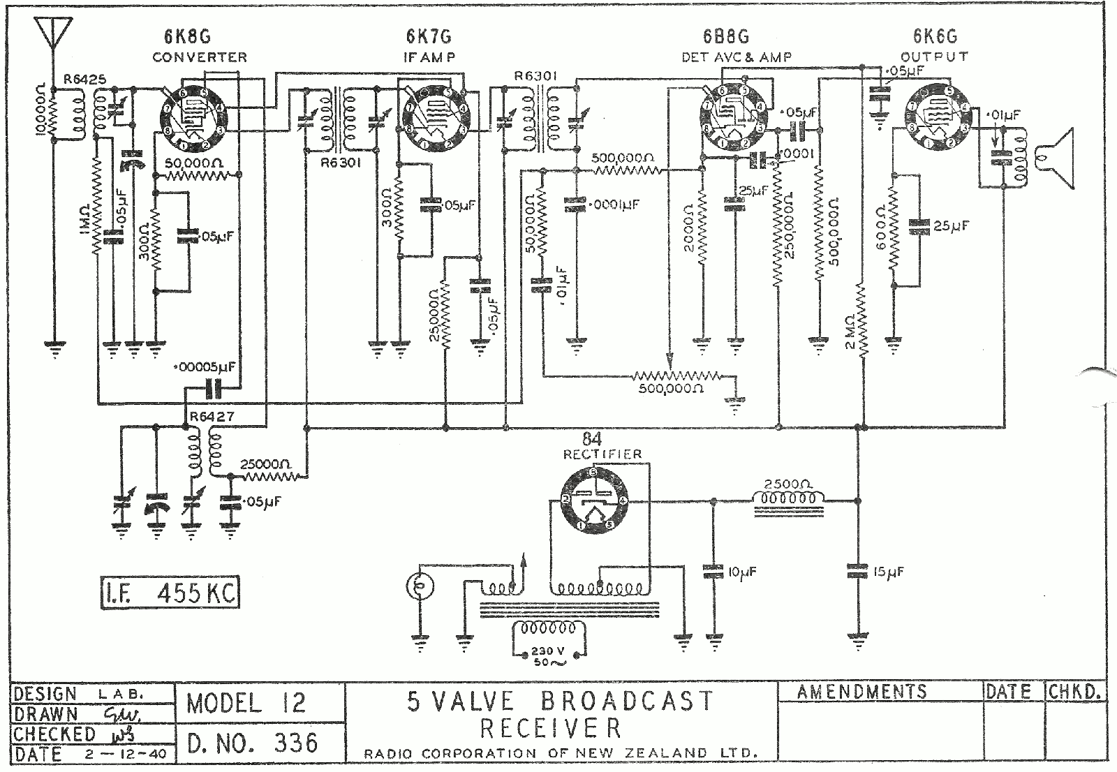 1940 Courtenay model 12 Schematic