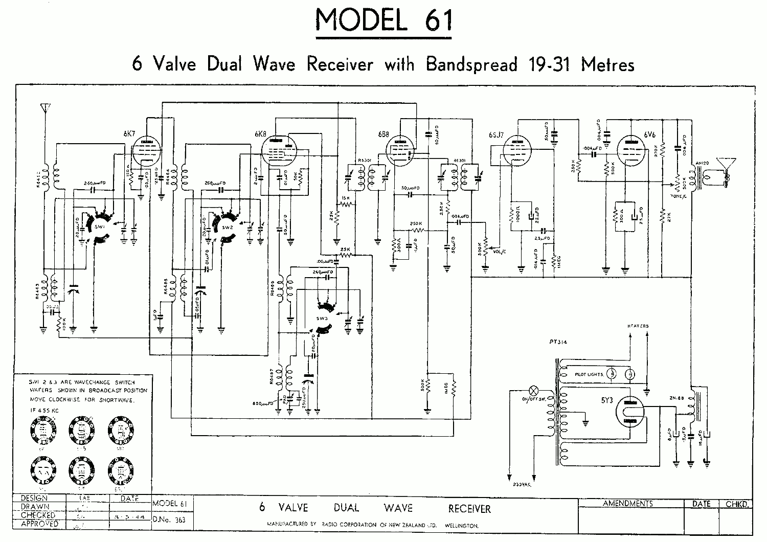 1947 Columbus & Courtenay model 61 Schematic