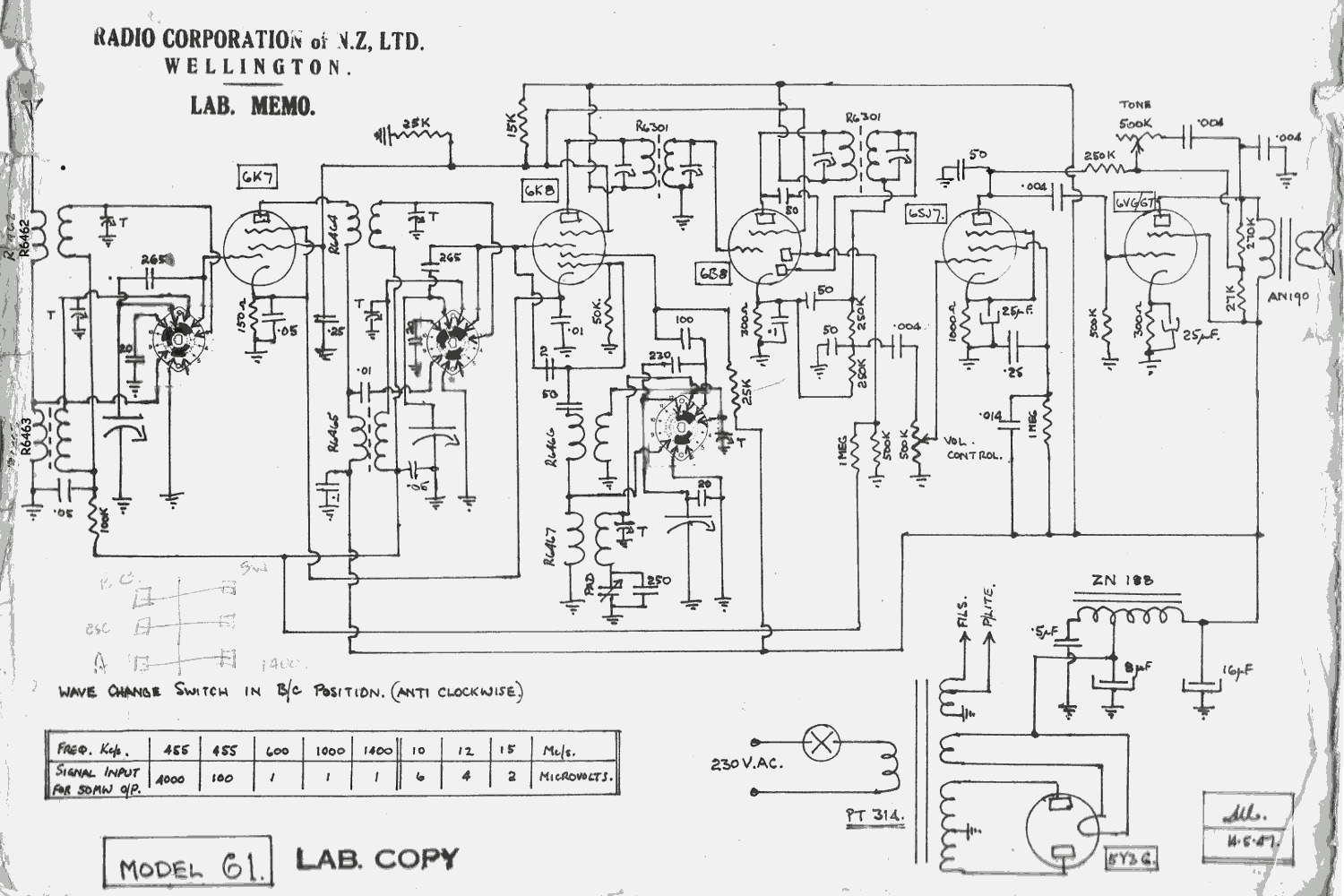 1947 Columbus & Courtenay model 61 Lab Schematic