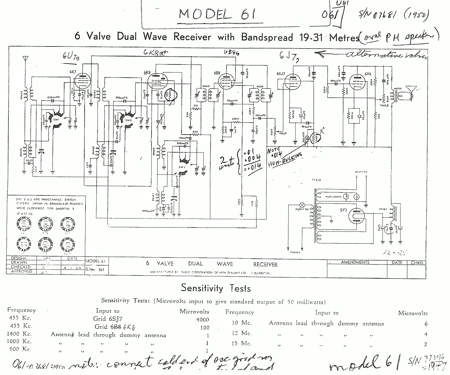 1947 Columbus & Courtenay model 61 Schematic with notes