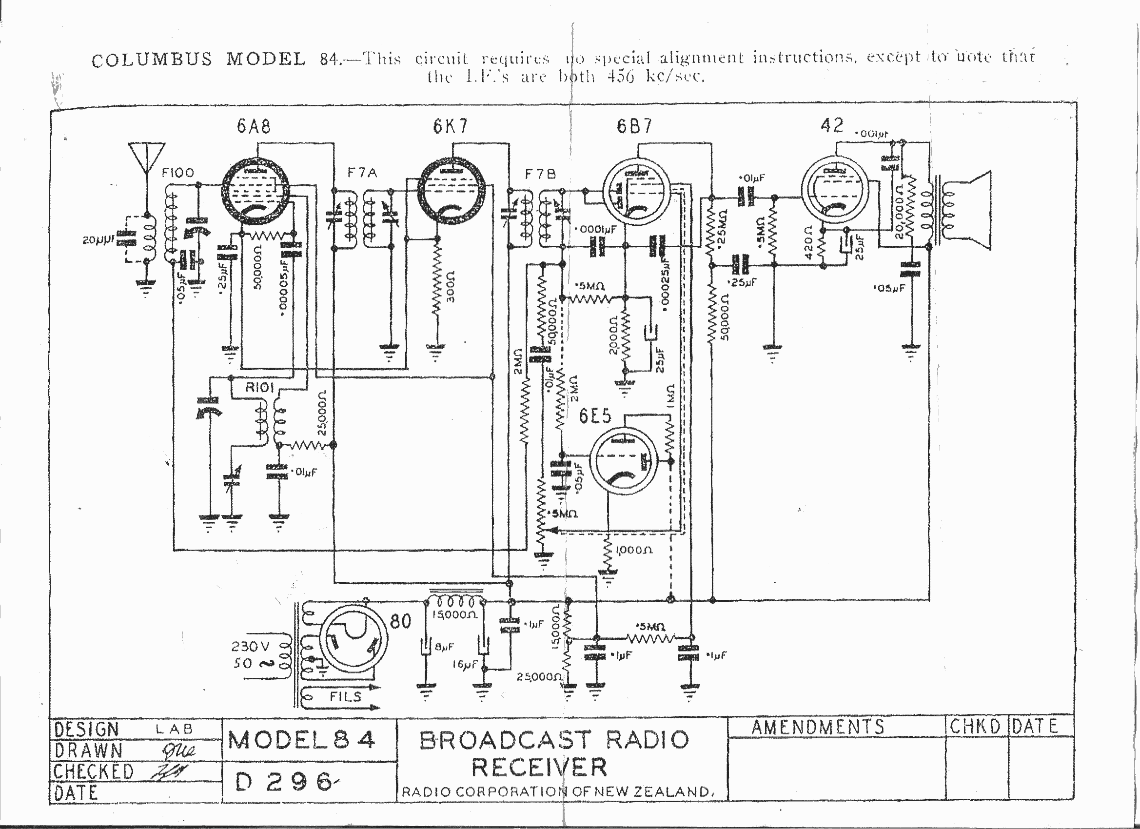 Columbus and Courtenay model 84 schematic