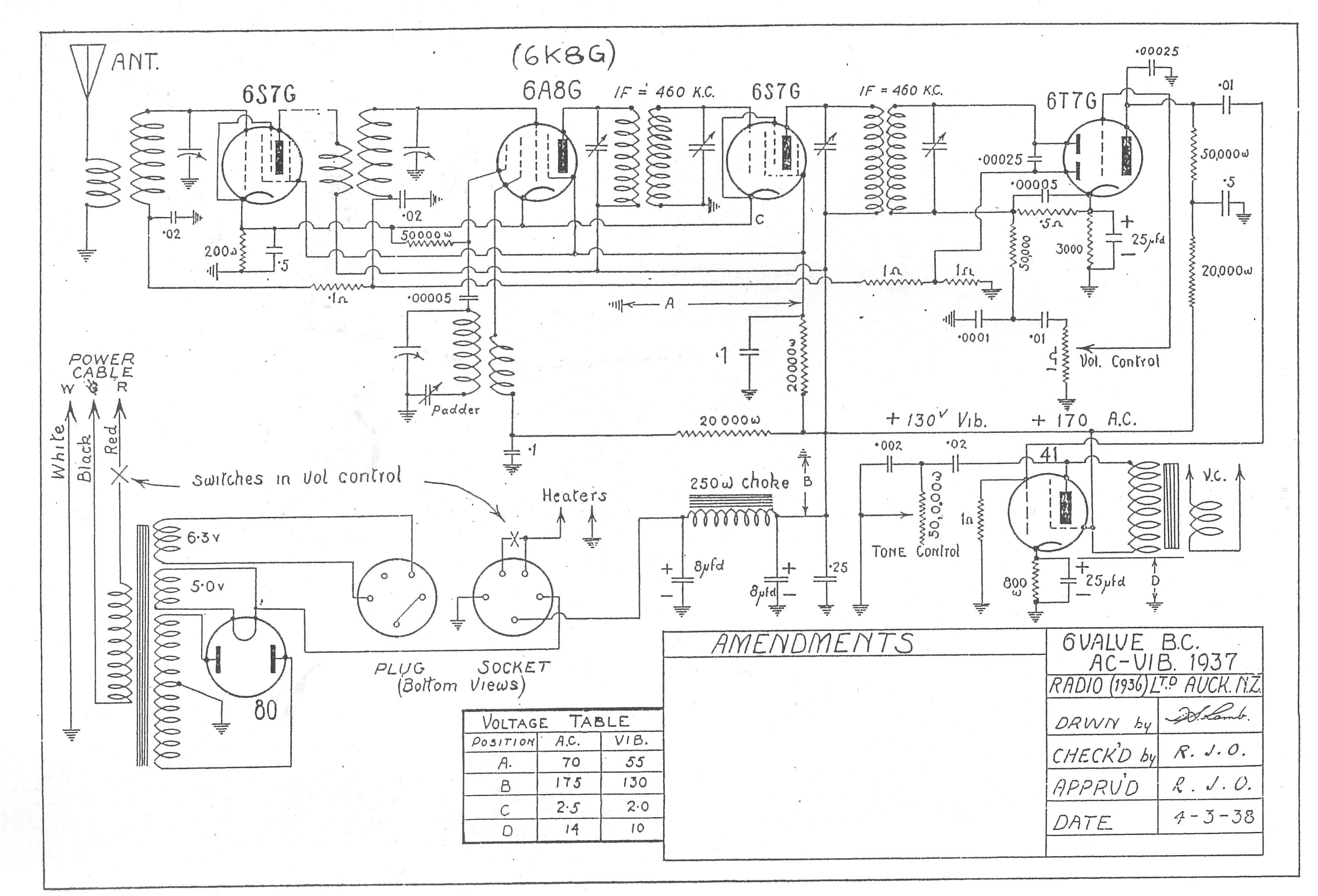 1937 Radio Ltd BTU BTR BT Schematic