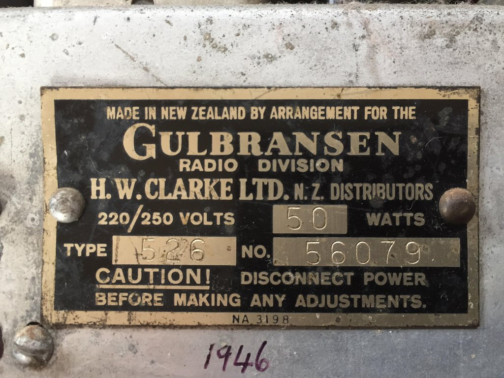 NZ Vintage Radio - 1946 Gulbransen model 526