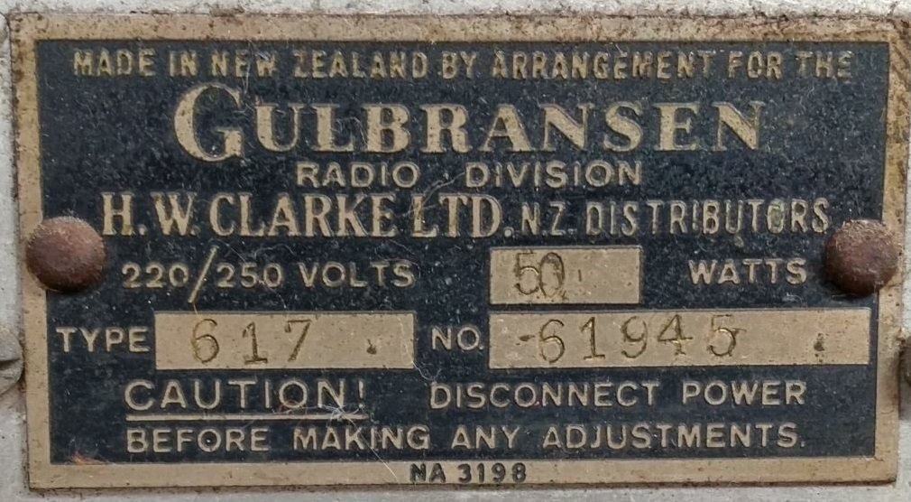 NZ Vintage Radio - 1947 Gulbransen  model 617