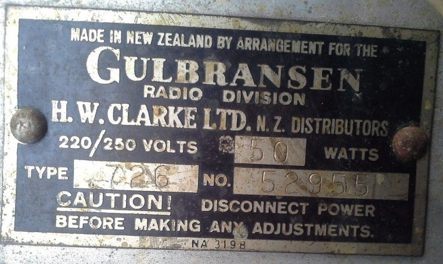 NZ Vintage Radio - 1946 Gulbransen model 726