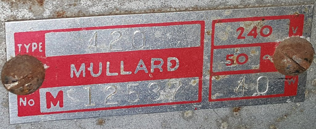 NZ Vintage Radio - 1950 Mullard model 420 Badge
