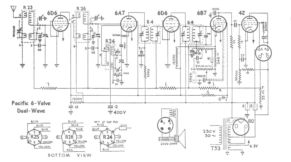 Pacific 6-valve Dual-Wave Schematic