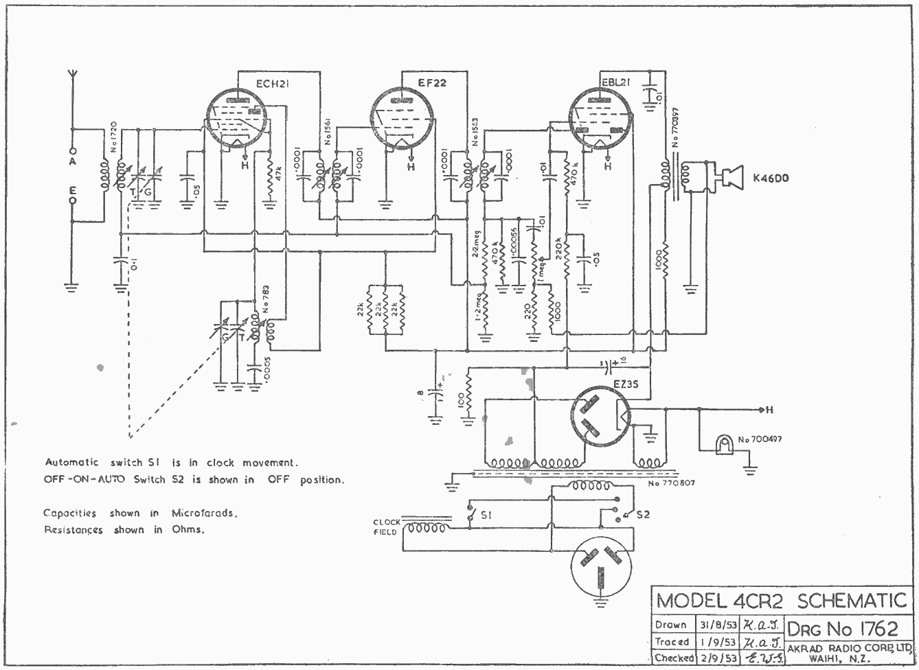 1953 Pacific (Post-WWII) 4CR Schematic
