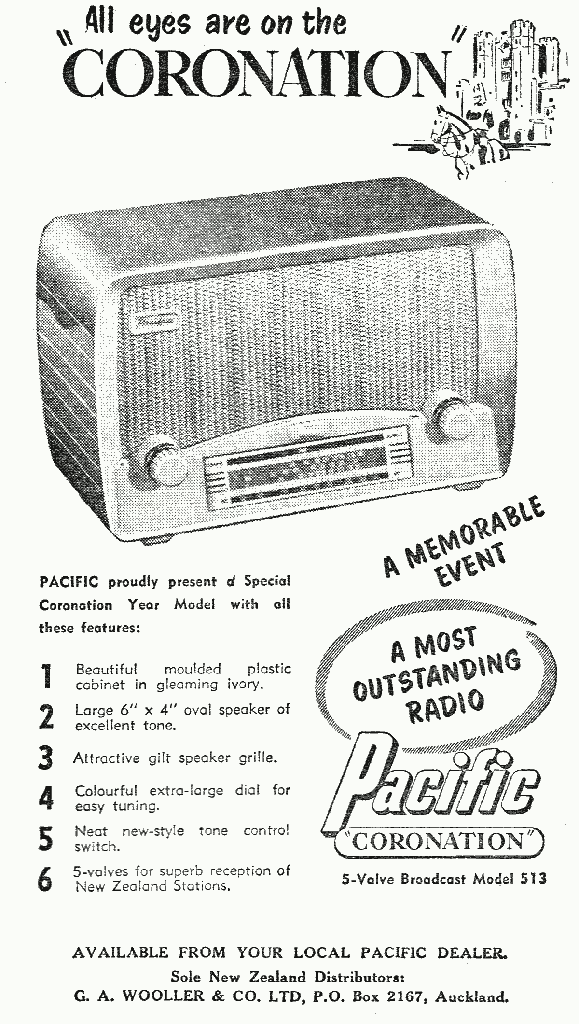 Pacific Coronation model 513 - The Weekly News 29 July, 1953