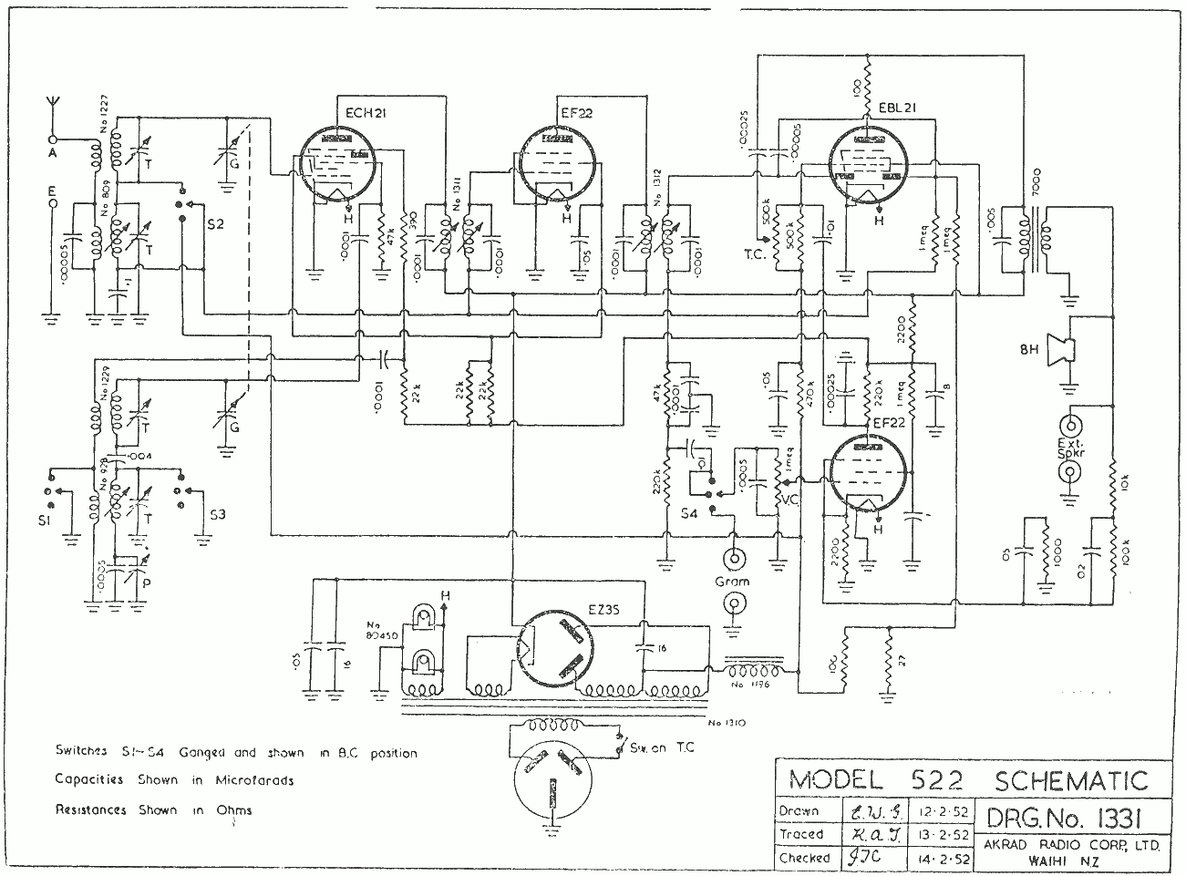 1952 Pacific (Post-WWII) model 522 Schematic