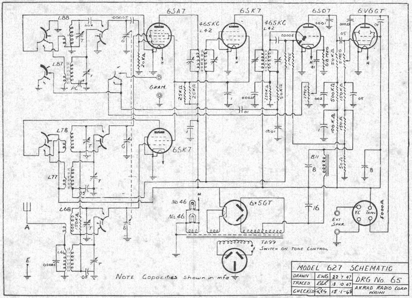 1947 Pacific (Post-WWII) model 627 Schematic - Regent and Pacific