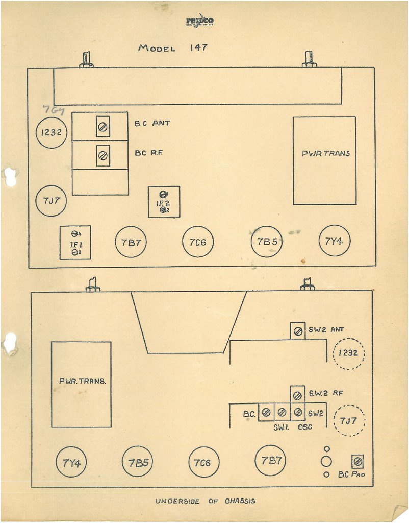 Philco model 147 chassis layout