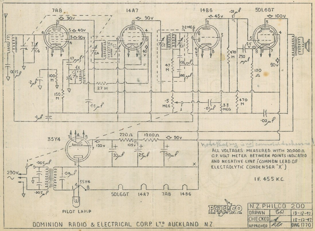 1948 Philco model 200 Schematic