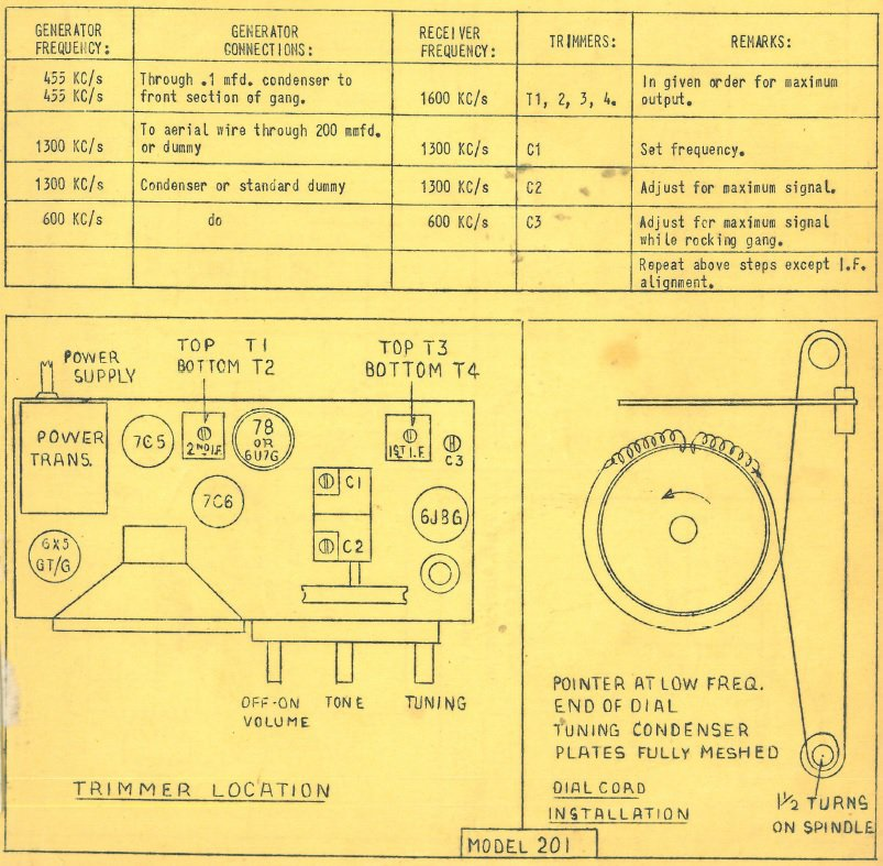 1949 Philco model 201 Chassis Notes