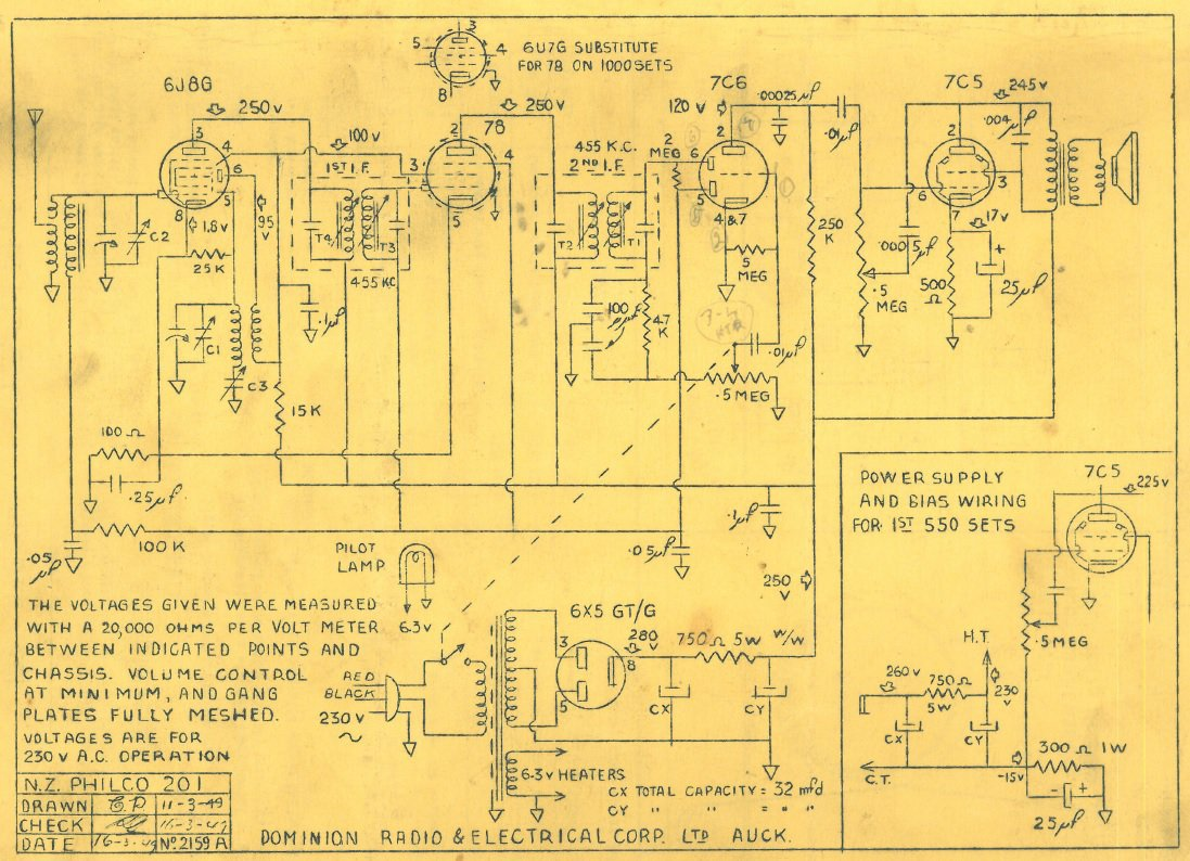 1949 Philco model 201 Schematic