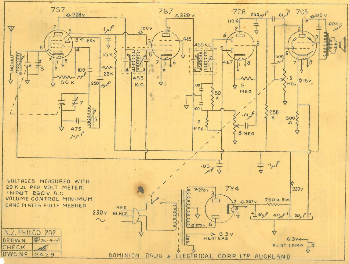 1950 Philco model 202 Schematic
