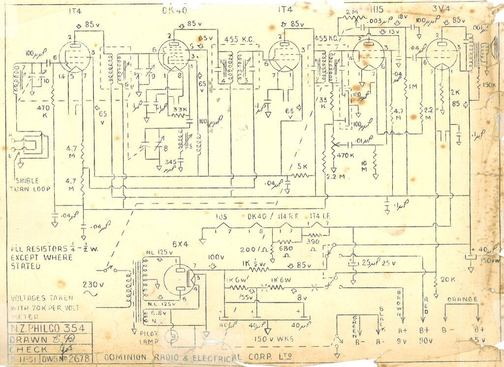 Philco NZ Model 354 Schematic