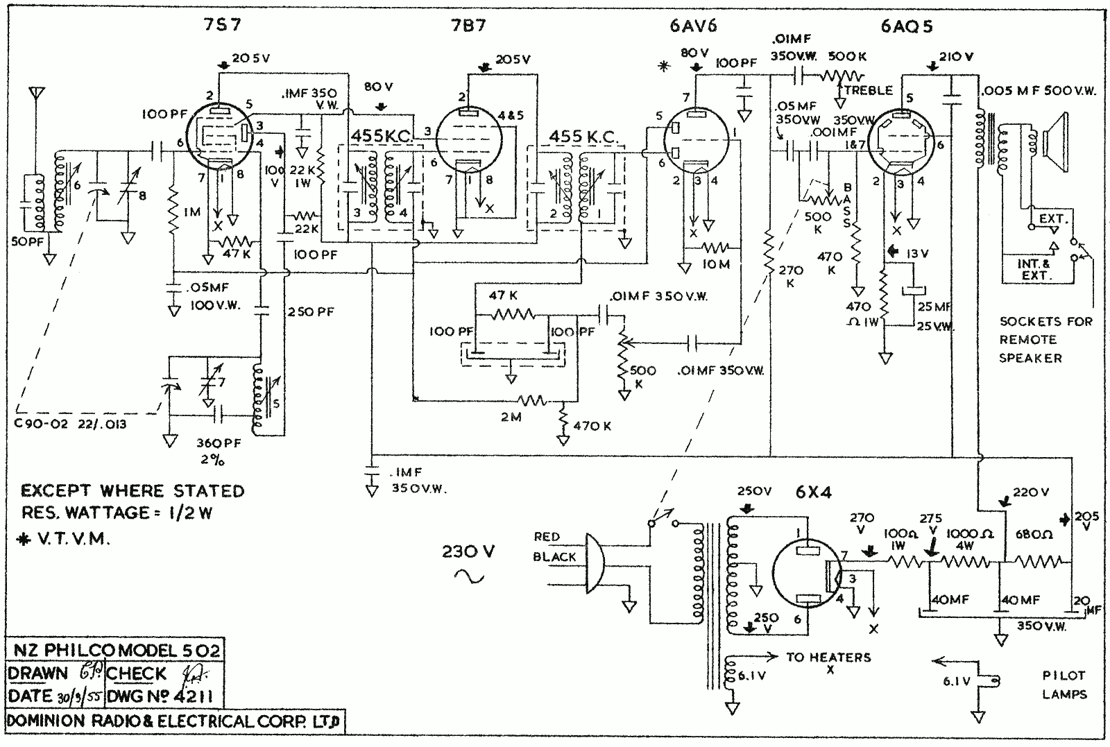 1955 Philco  model 502 schematic
