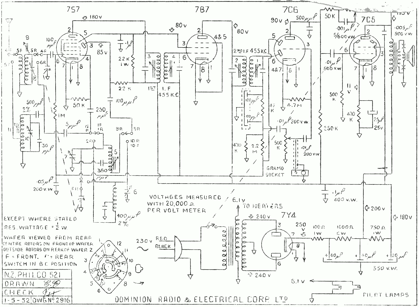 1952 Philco model 521 Schematic