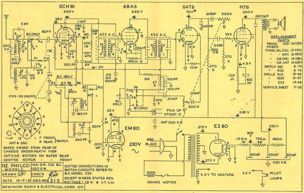 Philco NZ models 552, 1225 and 1661 Schematic