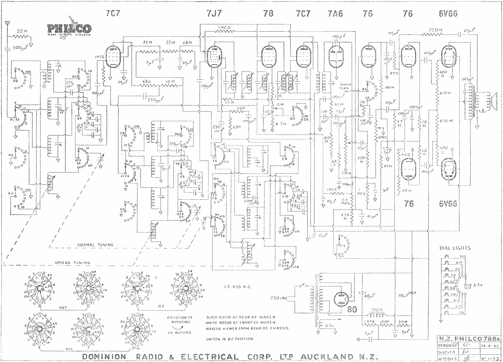 1941 Philco model 788 schematic