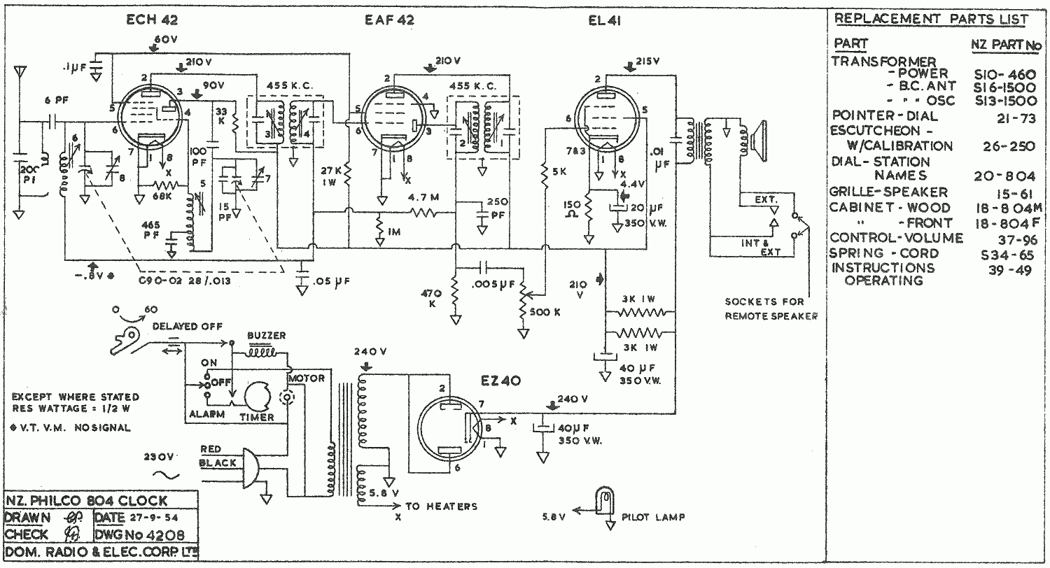 1954 Philco model 804 Schematic